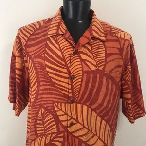 Tommy Bahama Silk Tropical Island Shirt Orange